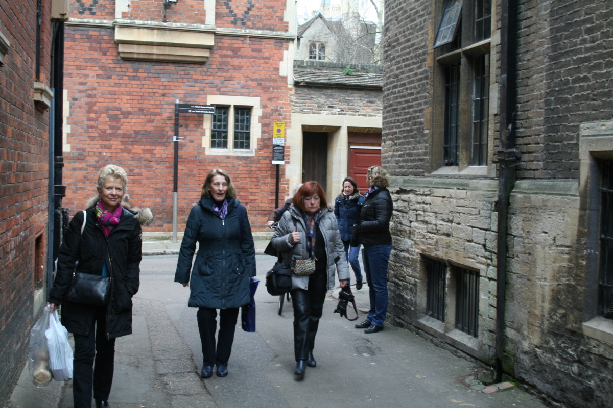 Photo of the tour winding through Cambridge's medieval streets.