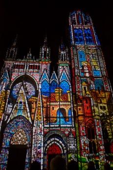 Son et lumière at Rouen cathedral.